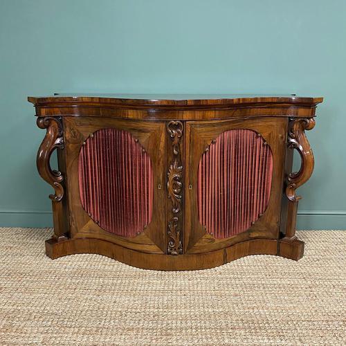 Spectacular Figured Rosewood Serpentine Victorian Antique Credenza (1 of 8)