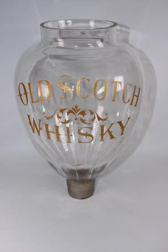 """Large Victorian Glass """"Old Scotch Whisky"""" Flask (1 of 4)"""