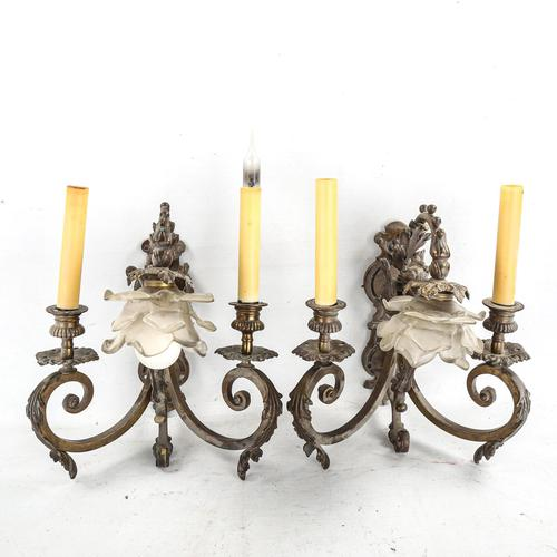 Pair of Ornate Bronze Twin-branch Wall Light Fittings (1 of 3)
