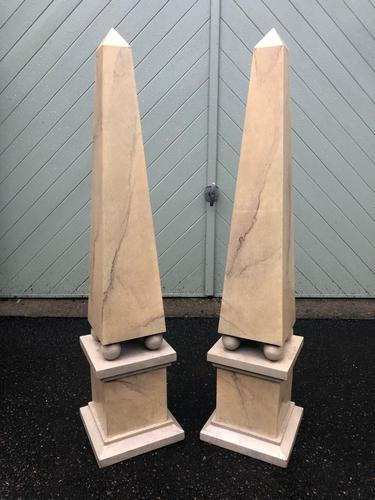 Pair of Wooden Faux Marble Painted Obelisk (1 of 7)