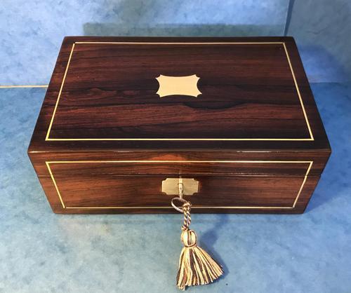 Regency Rosewood Brass Inlaid Jewellery Box (1 of 12)