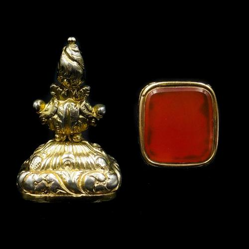 Antique Carnelian Agate Gold Cased Large Ornate Fob Seal Pendant (1 of 10)