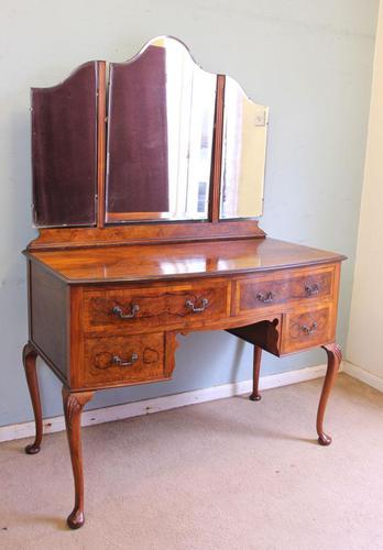 Burr Walnut Queen Anne Style Triple Mirror Dressing Table (1 of 13)
