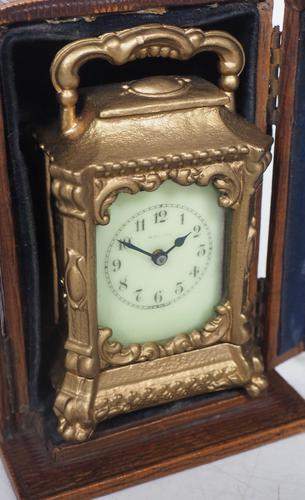 Antique Travelling Miniature Carriage Clock - Original Leather Case Made of Gilt Metal with Enamel Dial Mantel Clock (1 of 12)