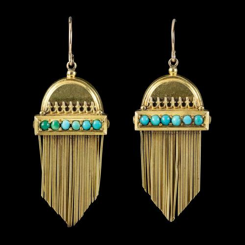 Antique Victorian Etruscan Revival Turquoise Fringe Earrings 18ct Gold c.1860 (1 of 5)
