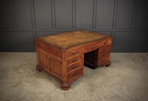 Large Mahogany Serpentine Shaped Partners Desk (1 of 20)