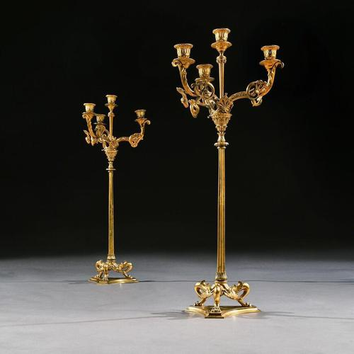 Elegant Pair of 19th Century Gilt Brass Candelabra by Elkington & Co (1 of 9)