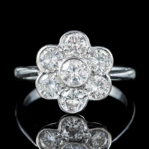 Antique Edwardian Diamond Daisy Cluster Ring Platinum 2ct of Diamond c 1910 (1 of 5)