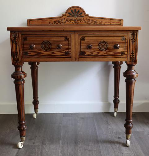 Victorian Pitch Pine Highly Decorated Side Table (1 of 8)