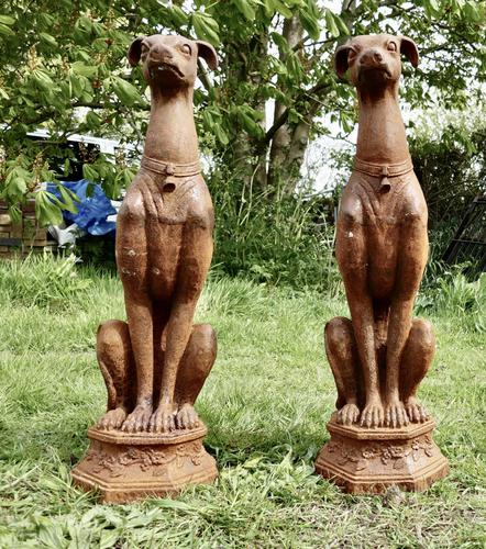Pair of Large Outdoor Weathered Cast Iron Greyhound Dogs (1 of 9)
