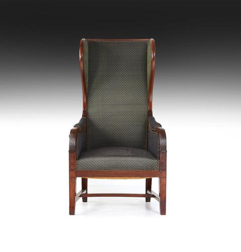 Early 19th Century Empire Mahogany Reclining Wing Back Armchair (1 of 5)