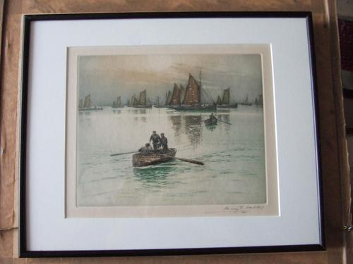 Henry George Walker Coloured Etching of Fishermen Rowing-out to their Boats (1 of 4)