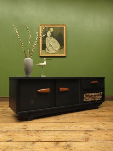 Vintage Mid Century Black Painted Sideboard, TV Cabinet with Basket, Gothic (1 of 14)