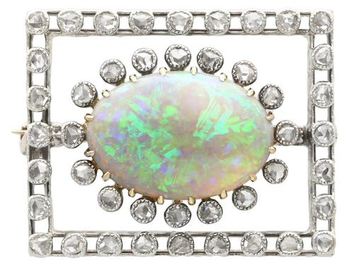 2.23ct Opal & 0.82ct Diamond, 9ct Yellow Gold Brooch - Antique c.1900 (1 of 9)