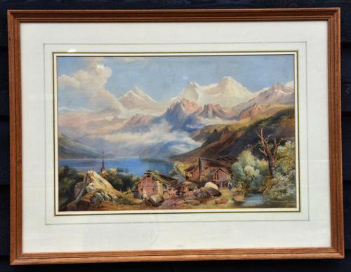 Lovely 19th Century Italian Landscape Watercolour. (1 of 4)