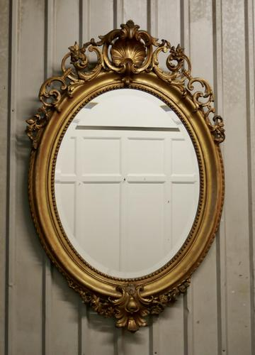 A Very Large French Rococo Oval Gilt Wall Mirror (1 of 10)