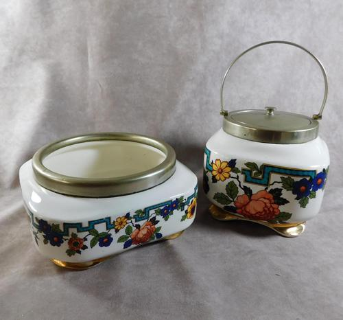 "Art Deco ""Flosmaron"" Regent EPNS Rimmed Fruit Bowl & Biscuit Barrel (1 of 5)"