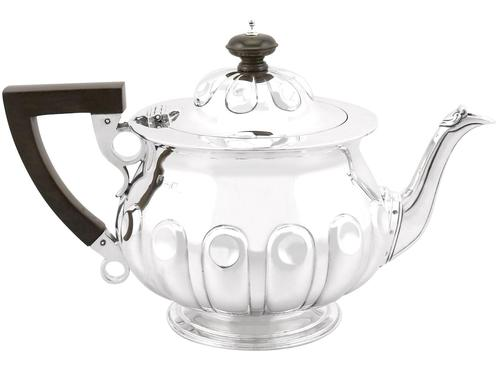 Sterling Silver Teapot by Reid & Sons - Arts & Crafts Style - Antique Edwardian 1904 (1 of 9)