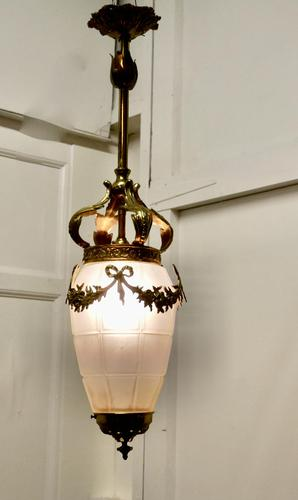 French Opalescent Glass & Brass Hanging Pendant Light (1 of 8)
