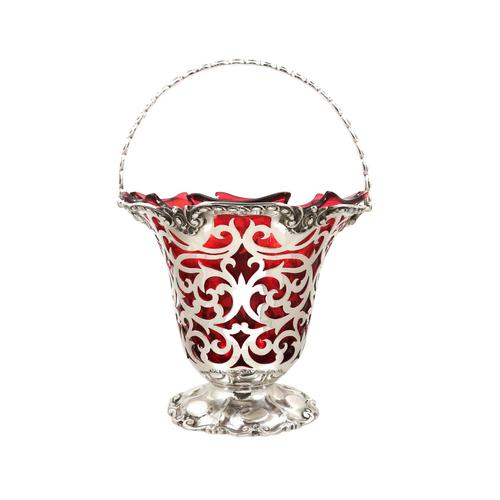 Antique Victorian Sterling Silver & Cranberry Glass Basket 1855 (1 of 11)