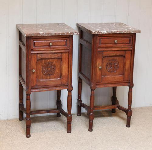 Pair of French Oak Marble Top Bedside Cabinets (1 of 9)