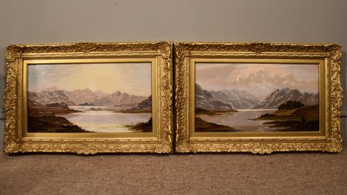 """Oil Painting Pair by Charles Leslie """"Mountain Landscapes"""" (1 of 9)"""