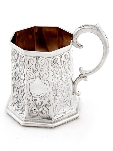 Early Victorian Octagonal Silver Christening Mug (1 of 6)