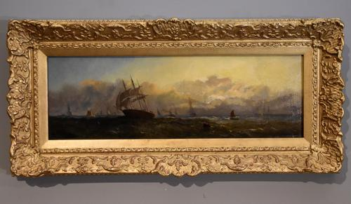 """Oil Painting by Adolphus Knell """"Sunset on the Coast"""" (1 of 5)"""