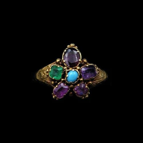 Antique Georgian Multi Gemstone Pansy Cluster 18ct Gold Ring (1 of 9)