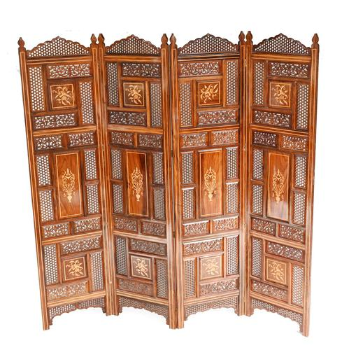 Antique Indian Folding Screen Inlaid Room Divider c.1920 (1 of 6)