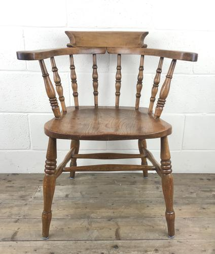 Antique Beech and Elm Smoker's Bow Armchair (1 of 16)