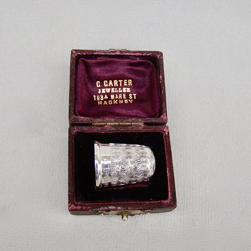 Cased George V Silver Thimble by Charles Horner, Chester 1915 (1 of 7)