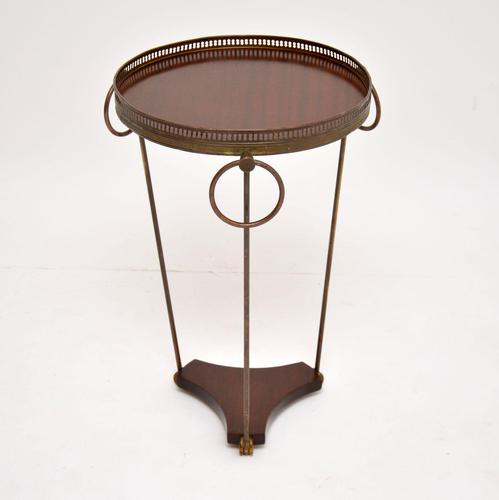 Brass & Mahogany French Side Table c. 1950's (1 of 7)