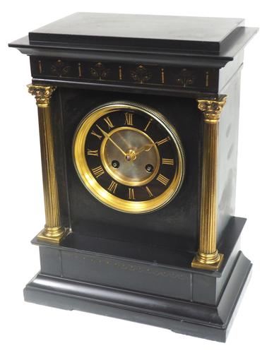 Antique French Slate Mantel Clock 8-Day Square Bracket Striking Mantle Clock with Gilt Decoration (1 of 11)