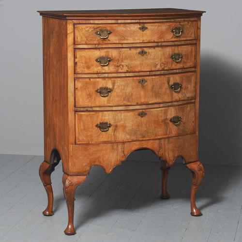 Georgian Style Walnut Bowfront Chest on Stand (1 of 11)