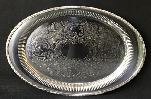 Large Oval Chased Silver Plated Butlers Tray (1 of 4)