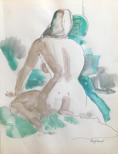 Original Watercolour 'Seated Figure' by Toby Horne Shepherd 1909-1993 Signed c.1970 (1 of 1)