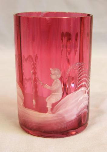 Antique 1900 Mary Gregory Cranberry Glass Mug (1 of 6)