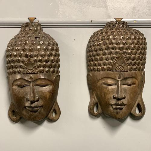 Pair of c19th Carved Indian Masks (1 of 6)