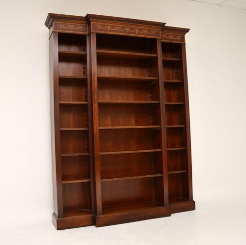 Antique Sheraton Style Inlaid Mahogany Open Bookcase (1 of 11)