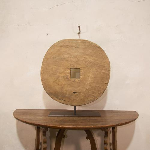 18th Century Ox Wheel Mounted on Stand (1 of 14)