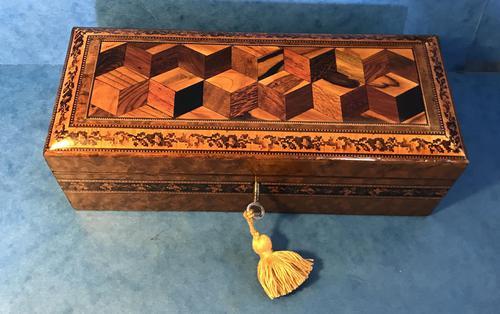 Victorian Burr Holly Glove Box with Tunbridge Ware Inlay (1 of 9)
