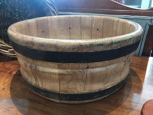 Large Wooden Dutch Cheese Press Bowl (1 of 2)