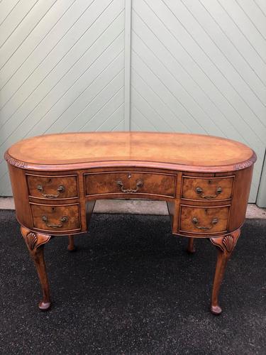 Antique Walnut & Burr Walnut Kidney Shaped Desk (1 of 13)