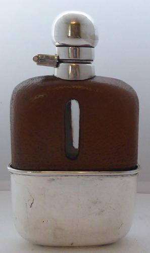 Edwardian Silver Plate Plated Leather Bound Glass Hip Flask (1 of 11)