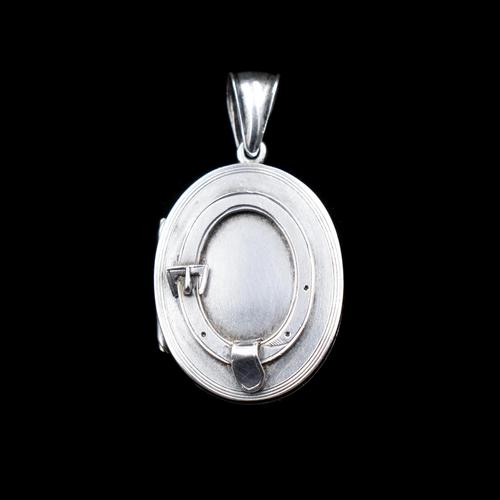 Antique Victorian Sterling Silver Oval Buckle Locket Pendant (1 of 10)