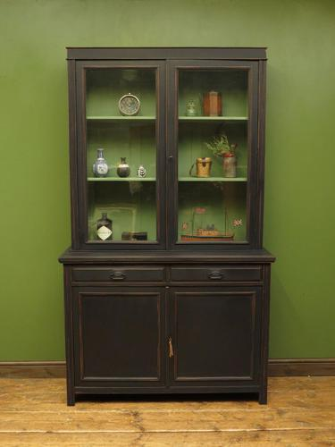 Antique Black Painted Bookcase Dresser Cabinet with Glazed Top, Lockable, Gothic (1 of 14)