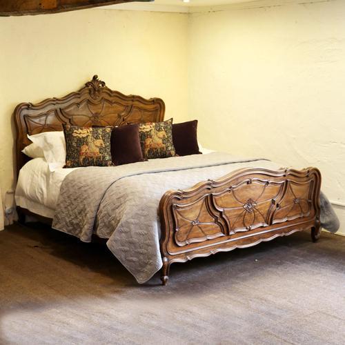 Unusual Italian Extra Wide Bedstead in Walnut (1 of 8)