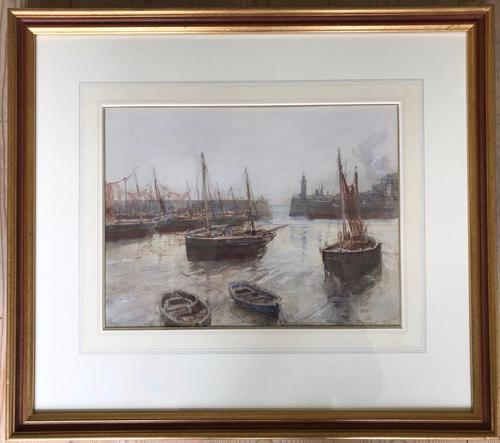 Watercolour of 'Folkestone Harbour' by Henry Charles Brewer RI 1866-1950 (1 of 2)