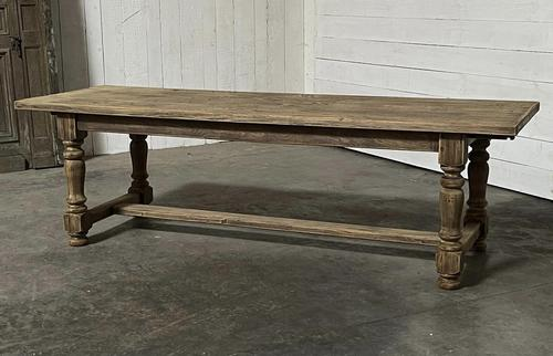 Nice Large Bleached Oak Farmhouse Dining Table With Extensions (1 of 35)